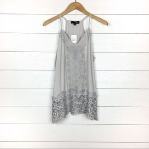 NWT Suzanne Betro Lace Racerback Tank Top Gray